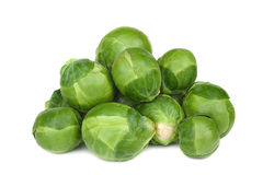 Brussel sprouts. Ripe Green brussel sprouts on white background Stock Photo
