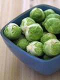 Brussel sprouts. In blue bowl on kitchen table Stock Image