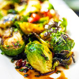 Brussel Sprouts With Balsamic Reduction Stock Photo