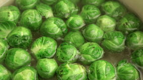 Brussel sprouts boiling in hot water, closeup;