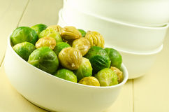 Brussel sprouts and chestnuts Stock Images