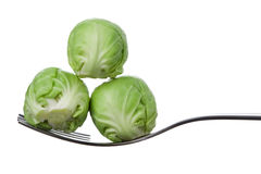 Brussel sprouts on a fork Stock Photography