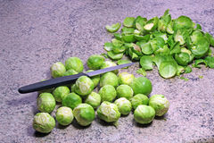 Brussel sprouts prepared and ready to cook. Royalty Free Stock Images