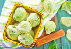 Brussel sprouts. On a table Royalty Free Stock Images
