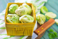 Brussel sprouts. On a table Stock Images