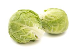 Brussel Sprouts on a White Background. Brussel Sprouts Isolated on a White Background stock photography