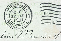 Brussel stamp. Vintage cancellation stamp from Brussels (Bruxelles) on an old post card (dated 1911 Royalty Free Stock Photography