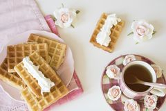 Brussel waffles on pink plate and napkin, cup of tea and roses. Against white table. royalty free stock photo
