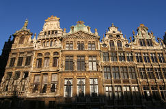 Brussels. Facades of historic houses on Brussels Grand Place stock photography