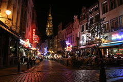 Brussels. Nightlife street scene in Brussels, Belgium Stock Photo