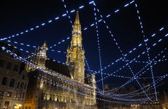 Brussels. Night illumination of Grand Place in Brussels, Belgium Royalty Free Stock Image