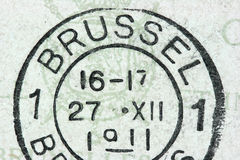 Brussels. Vintage cancellation stamp from Brussels (Bruxelles) on an old post card (dated 1911 Royalty Free Stock Photography