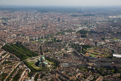 Brussels From Above. Aerial photo of the Belgian and European capital. The photo was made from an airliner window while approaching Brussels Airport (zaventem) stock photos