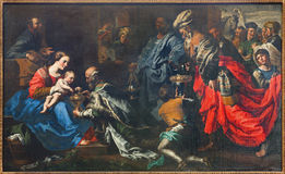 Brussels - Adoration of The Magi by painter Theodor van Loon from 17. cent. in the Saint Nicholas church. Royalty Free Stock Photography