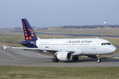 Brussels Airlines Airbus A320 at the airport Royalty Free Stock Photos