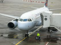 Brussels Airlines A320 arriving at gate stock image