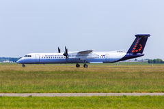 Brussels Airlines Bombardier Q400. At Amsterdam Schiphol Airport royalty free stock image