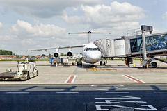 Brussels Airport. Plane in preparation royalty free stock image