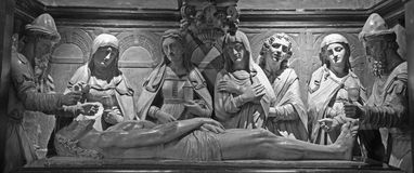 Brussels - Anointment of Jesus in the tomb from St. Michael and St. Gudula Cathedral. Stock Photo