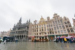 Afternoon rainy view of the famous Grand Place. Brussels, APR 29: Afternoon rainy view of the famous Grand Place on APR 29, 2018 at Brussels, Europe stock photos