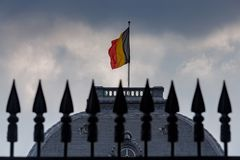 Brussels. The Belgian flag. royalty free stock images