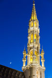Brussels, Belgium. Detailed view of Grand Place and moon from Brussels, Belgium (night shot Stock Photography