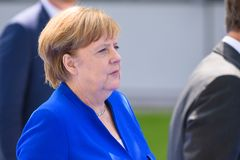 Angela Merkel, Chancellor of Germany, during arrival to NATO SUMMIT 2018. 11.07.2018. BRUSSELS, BELGIUM. Angela Merkel, Chancellor of Germany, during arrival to stock photos