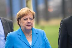 Angela Merkel, Chancellor of Germany, during arrival to NATO SUMMIT 2018. 12.07.2018. BRUSSELS, BELGIUM. Angela Merkel, Chancellor of Germany, during arrival to royalty free stock photo