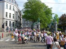 Brussels, Belgium - April 22, 2018: Silent march Pro Life against abortion and euthanasia in downtown Brussels Royalty Free Stock Image