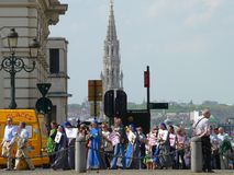 Brussels, Belgium - April 22, 2018: Silent march Pro Life against abortion and euthanasia in downtown Brussels Royalty Free Stock Photos