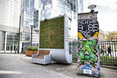 Brussels, Belgium - April 10, 2018: CityTree pollution removal living wall moss filter device installed at the European Parliament Royalty Free Stock Photos