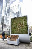 Brussels, Belgium - April 10, 2018: CityTree pollution removal living wall moss filter device installed at the European Parliament Stock Images