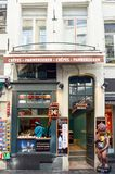 Le Funambule, famous homemade waffle shop located at Grand Place next to Manneken Pis landmark in Brussels, Belgium Stock Photography