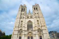 Cathedral of St. Michael and St. Gudula in Brussels, Belgium royalty free stock images