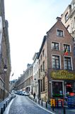 Preserved old European-style residential and commercial buildings on streets of Brussels City, Belgium. Brussels, Belgium - April 2015: Preserved old European Stock Photography