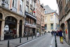 Preserved old European-style residential and commercial buildings on streets of Brussels City, Belgium. Brussels, Belgium - April 2015: Preserved old European Stock Photo