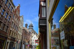 Preserved old European-style residential and commercial buildings on streets of Brussels City, Belgium. Brussels, Belgium - April 2015: Preserved old European Royalty Free Stock Photos
