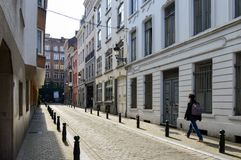 Preserved old European-style residential and commercial buildings on streets of Brussels City, Belgium. Brussels, Belgium - April 2015: Preserved old European Stock Images