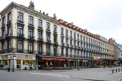 Preserved old European-style residential and commercial buildings on streets of Brussels City, Belgium. Brussels, Belgium - April 2015: Preserved old European Royalty Free Stock Images