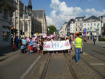 Brussels, Belgium - April 22, 2018: Silent march Pro Life against abortion and euthanasia in downtown Brussels. Brussels, Belgium - April 22, 2018:Silent march stock photo