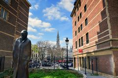 Statue of Hungarian composer and pianist Bela Bartok at Place d`Espagne Spanish Square near Grand Place in Brussels, Belgium. Brussels, Belgium - April 2015: A Royalty Free Stock Image