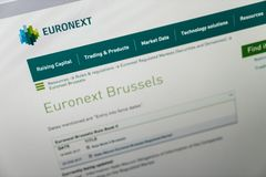 Brussels Stock Exchange web site royalty free stock photography