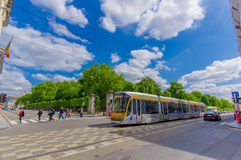 BRUSSELS, BELGIUM - 11 AUGUST, 2015: Blue tram Royalty Free Stock Photos