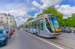 BRUSSELS, BELGIUM - 11 AUGUST, 2015: Blue tram Royalty Free Stock Image