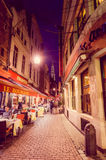 BRUSSELS, BELGIUM - 11 AUGUST, 2015: Famous street Royalty Free Stock Photography