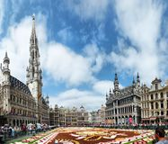 Brussels, Belgium - August 19, 2019: The flower carpet in Brussels Central square is devoted to Guanajuato a Mexican region. Brussels, Belgium - August 19, 2019 royalty free stock photo