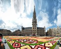 Brussels, Belgium - August 19, 2019: The flower carpet in Brussels Central square is devoted to Guanajuato a Mexican region. Brussels, Belgium - August 19, 2019 royalty free stock photos