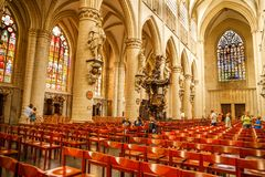 The Cathedral of St. Michael and St. Gudula. Brussels, Belgium-August 13, 2015-The interior of the Cathedral of St. Michael and St. Gudula Stock Images