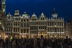 View of the Grand Place at night in Brussels, Belgium Royalty Free Stock Image