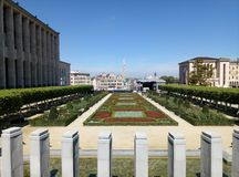Brussels / Belgium - August 14 2017: The view from the observation point to the park Mont des Arts. royalty free stock images